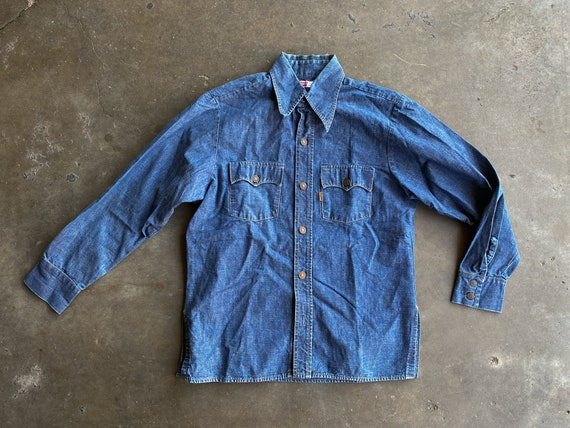 1970s Levis Chambray Shirt-Jac, sz Medium - Denim
