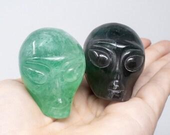 Crystal ALIEN Skull, High Quality Fluorite Hand Carved Natural Stone. Select Green Fluorite or Dark Rainbow Fluorite