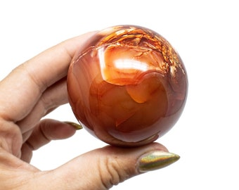 Large Carnelian Crystal Sphere w/ plastic stand. 3 inch Red/Orange Natural Polished Crystal. Hand Picked to Bring You Only The Best Crystals