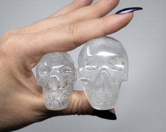 High Quality & Clarity. Pick your own magical Crystal Skull, Natural Rainbow Inclusions, Hand Carved Natural Clear Quartz Crystal