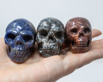 Pick your Magical Crystal Skull, High Quality Sodalite, Red Jasper, and Iridescent Larvikite. Hand Carved Natural Stone.