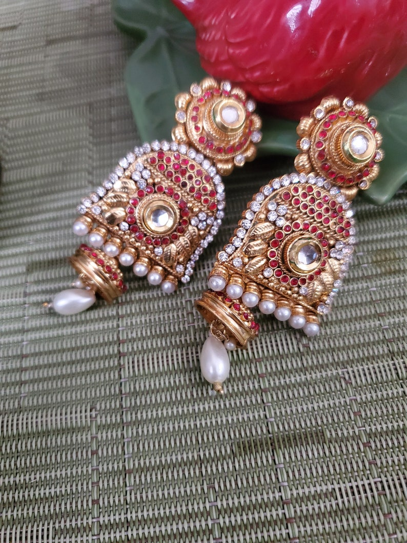 Antique Gold Plated Red and white stone Indian earrings chandbali gold plated JewelryBollywood Big Earrings Ethnic dangle drop Earrings