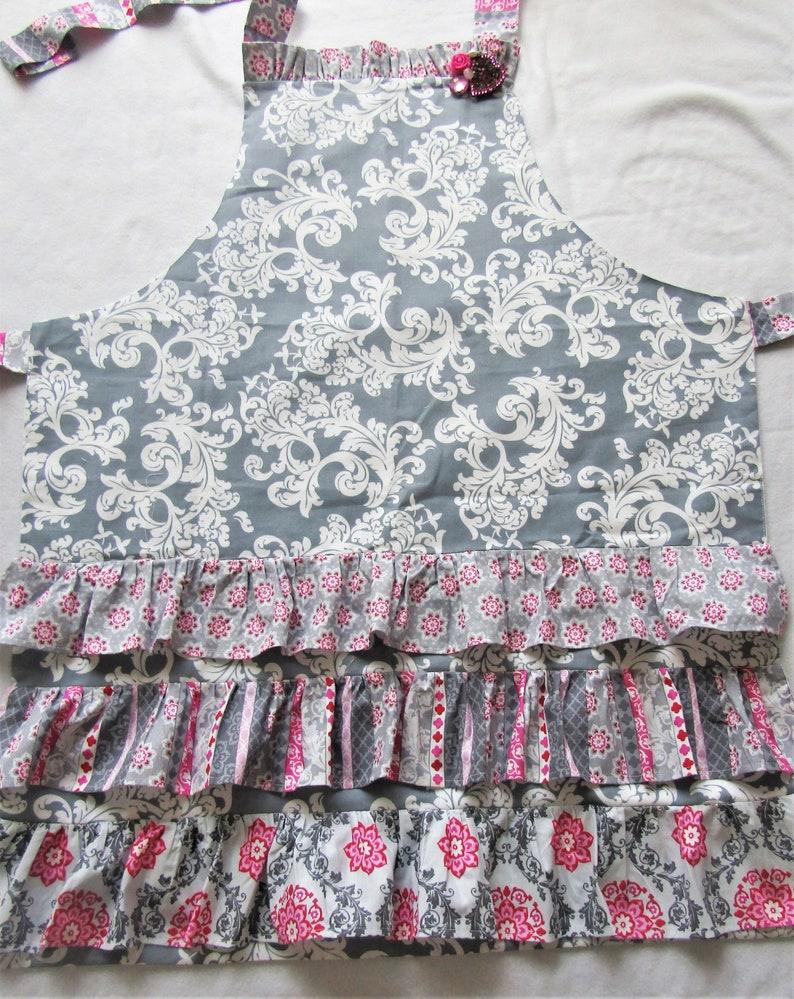 Boho Print Ruffled Apron Adjustable Fit Fully Lined Apron Vintage Style Ruffled Apron Shabby Chic Apron FULL KITCHEN APRON