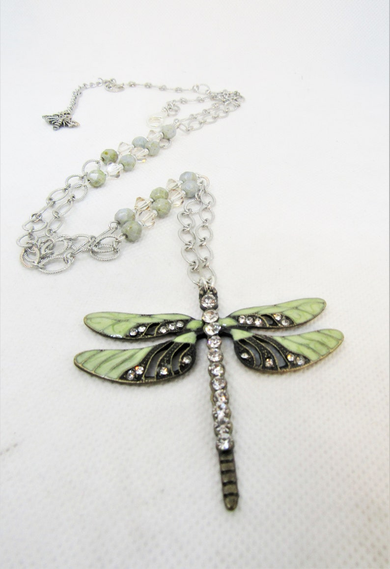Long Station Necklace for layering DRAGONGFLY PENDANT Necklace Trend 2020 Adjustable length
