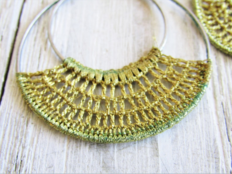 Hoop Earrings with Hand-Crocheted Accent Vintage Large Hoop Dangle Earrings VINTAGE HOOP Earrings