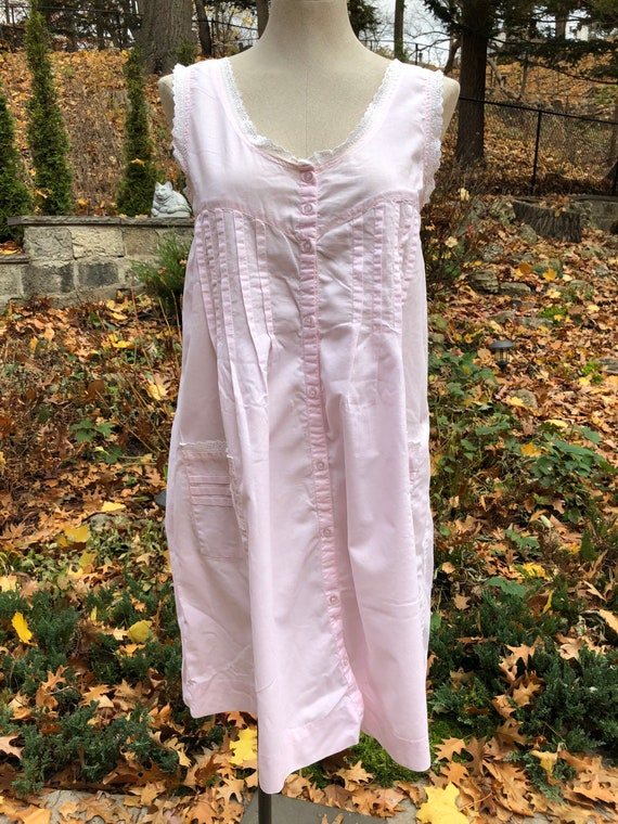 Vintage Cotton Nightgown, Sleeveless, Medium