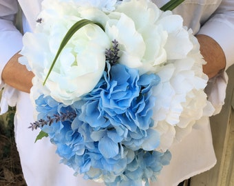 Blue Wedding Color White Wedding Bouquet 7 Junior Bridesmaid Bouquet Dusty Blue Junior Bridesmaid Bouquet Hydrangea Wedding Bouquet