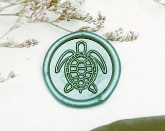 Sea Turtle Wax Seal Peel and Stick Made to Order Elegant Wedding Birthday shell Graduation ocean fish letter Premade Stickers water sea