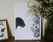 Instinct A6 A5 Illustration Postcard Decoration Shows Jungle Panther