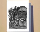 Tenderness A6 A5 Illustration Decoration Postcard Poster Monkeys