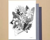 Harmony A6 A5 Illustration Postcard Poster Hummingbird Jungle