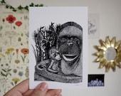Tendresse A6 A5 Illustration Decoration Postcard Poster Monkeys