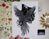 Nocturne A6 A5 Illustration Decoration Postcard Bird Poster