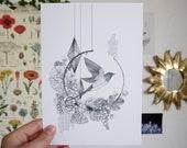 Flight A6 A5 Illustration Postcard Decoration Bird Bird Bird Poster