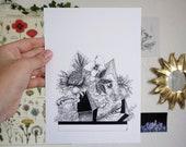Jungle A6 A5 Illustration Decoration Postcard Exotic Floral Poster