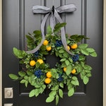 BEST SELLING Faux Lemon Wreath for Front Door - Lemon Wreath with Blueberries