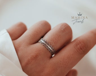 LAURIER ring•• adjustable silver stainless steel ring in the form of a laurel wreath for women