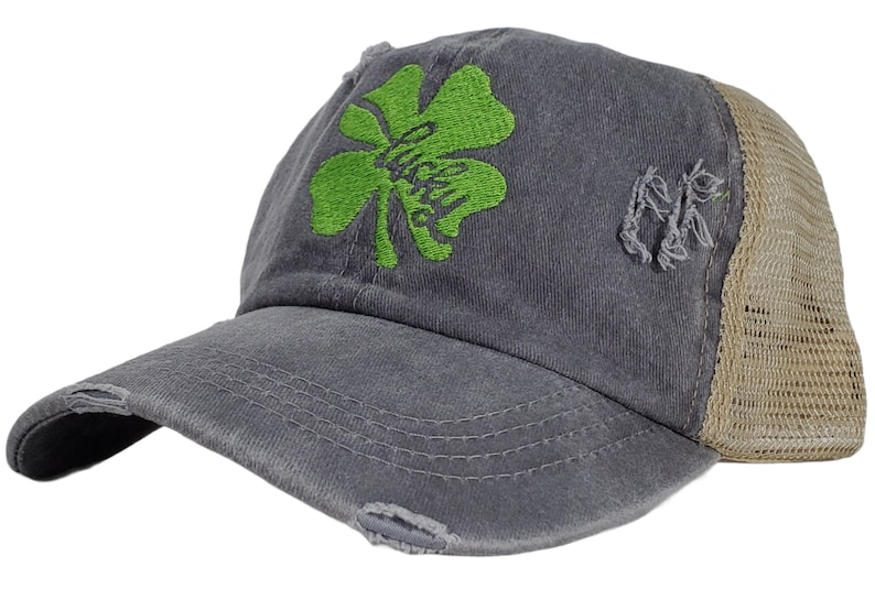 Lucky ponytail style hat Velcro closure on back Made to order. Graytan colored hat with light green embroidery Distressed