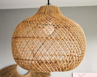 KANAWA LAMPSHADE - Handmade rattan lampshade, Wicker lamp, Rustic pendant light, chandelier, boho Pendant Light, Woven Lamp, light shade