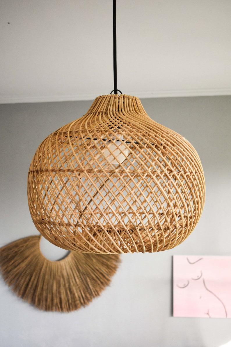 KANAWA LAMPSHADE  Handmade rattan lamp shade Wicker lamp D40 x H35 cm