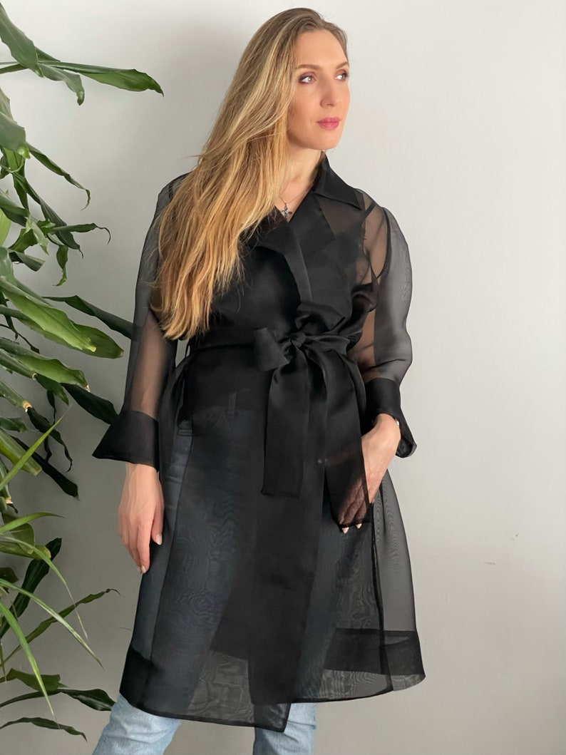 Gift for Her Gorgeous  Transparent Coat Black Spring Organza Trench Coat Organza Robe Italian Silk Fabric Silk Organza Trench Coat