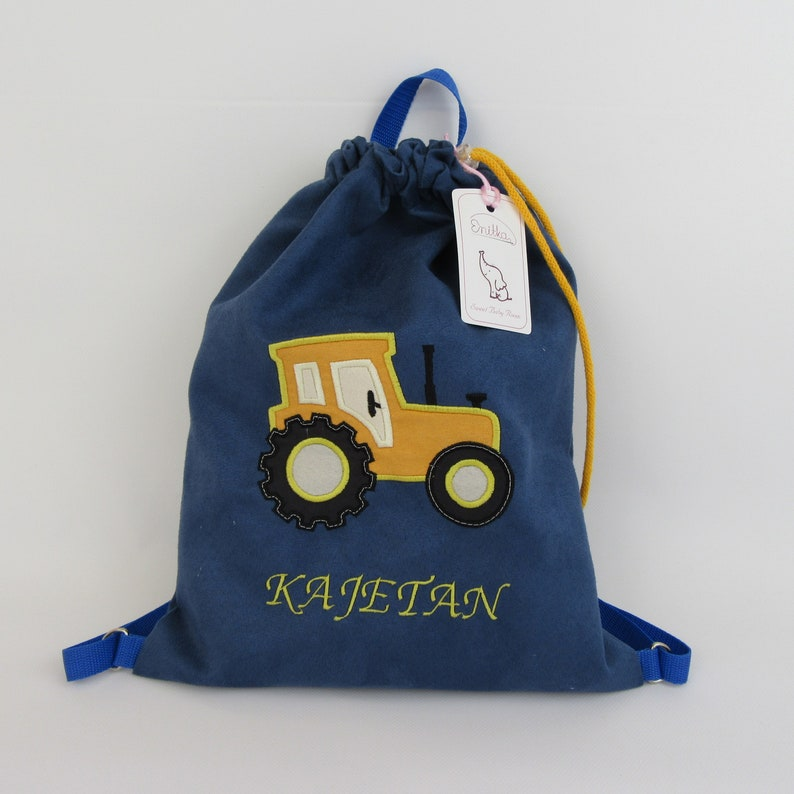 Backpack with a tractor backpack with a name gift for a boy, personalized backpack bag with a name personalized gift