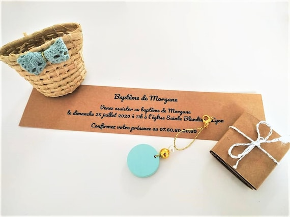 Personalized godmother proposal gift box with its D- Day engraved wooden key chain - handmade