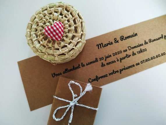 Favors with red & white vichy heart and raffia handmade box for rustic wedding, summer wedding,baby shower, birthday, baptism guest gift