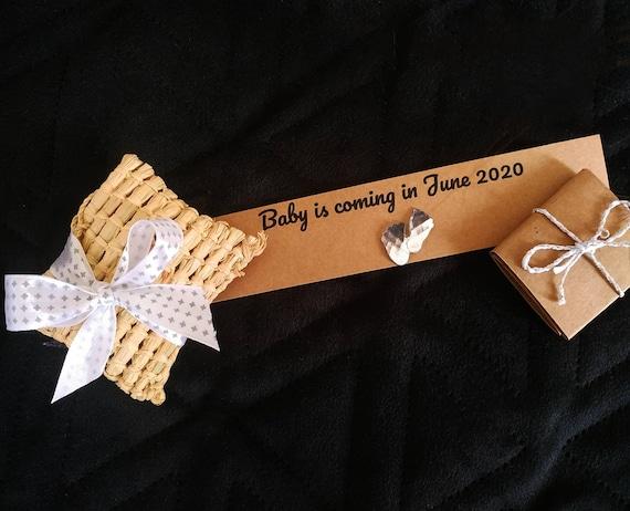 Personnalized pregnancy announcement giftbox in its raffia box - handmade