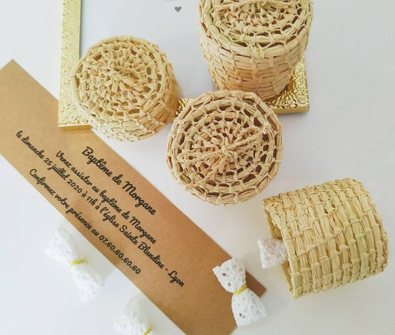 Favors, rustic chic, greenery, boho, tropical for wedding, baby shower, newborn, baptism party, baby 1st birthday  -  handmade raffia