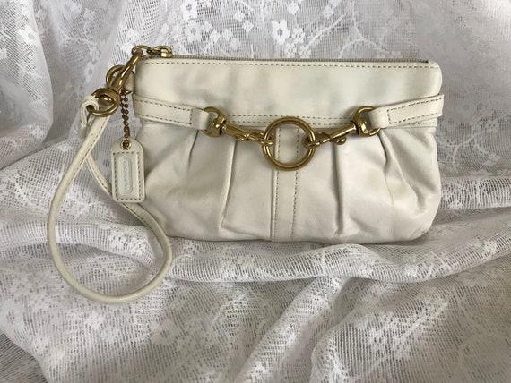 Vintage Coach White Leather Wristlet, White Wristl