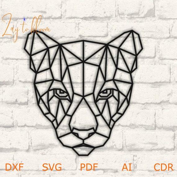 Fichier DXF pour laser En bois puma tête wall art, projet Vector pour routeur CNC et coupe laser, fichier svg, cnc Cut Vector, Mur géométrique tête