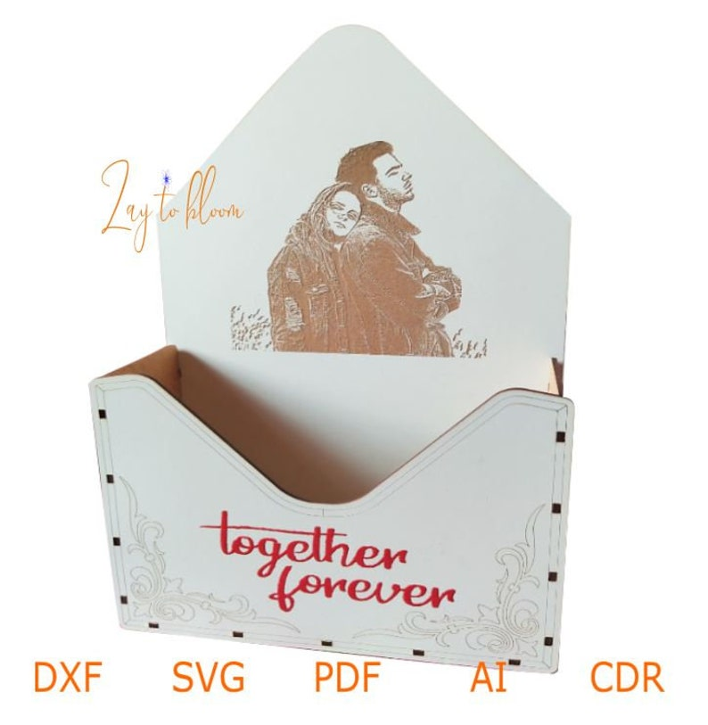 polywood 3mm Dxf file for wooden envelope with Custom digital Portrait photo and message Personalized cut svg design laser cuting svg cnc