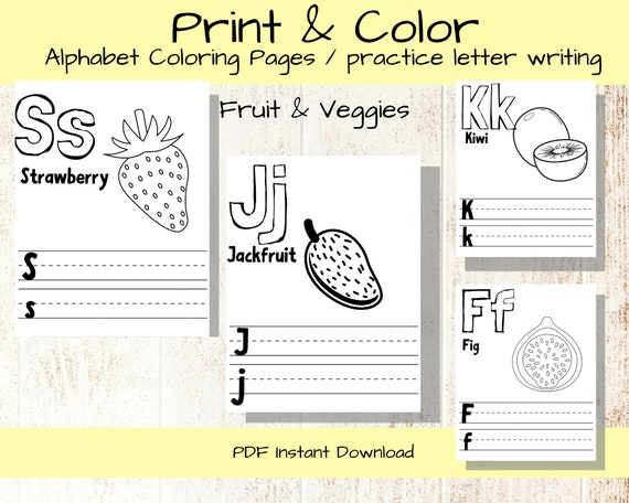 - ABC Alphabet Coloring Pages/fruit And Veggies/letter Worksheet Etsy