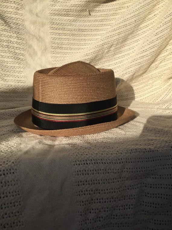 Vintage Pork Pie Braided Straw Mens Hat
