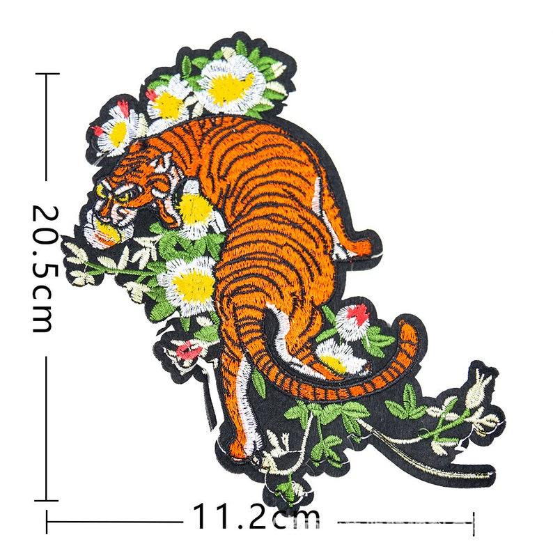 Sew On Fashion Large Tiger Patches Embroidered Patches Handcraft Trim