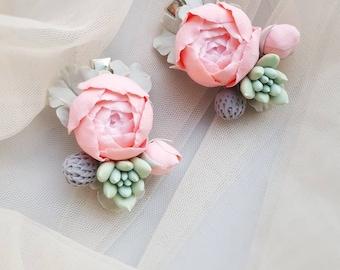 "Pin up 6/"" Large Black /& White vintage roses floral boho hair bow clip Festival"