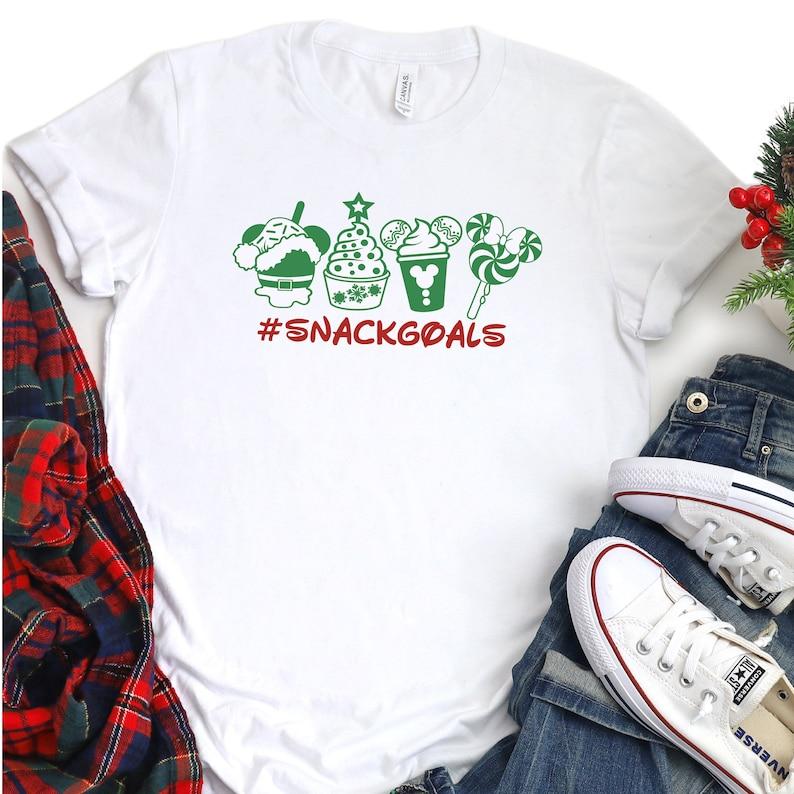 Holiday Snack Goals Tee; Christmas Women T-shirt Disneyland; Mickey Mouse T-shirt