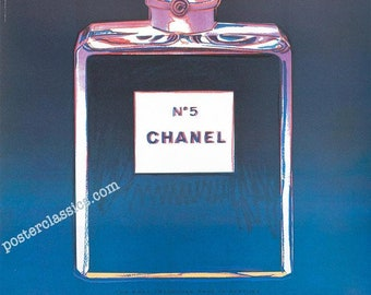Original Andy Warhol Chanel N5 Perfume poster made in France 22x29 1997 inches on linen