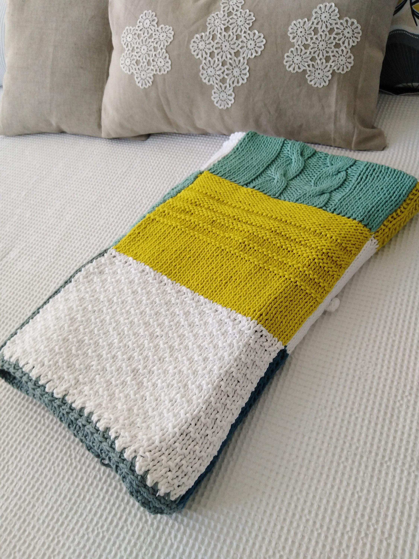 Patchwork tricoté Cotton Throw - couverture en coton patchwork tricoté à la main - couverture en coton tricoté patchwork