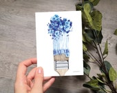 FLOWER BRUSH | card | A6 | art print | greeting card | notecard | with envelope