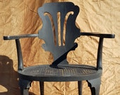 Antique Black Wooden Chair with Woven Wicker Seat
