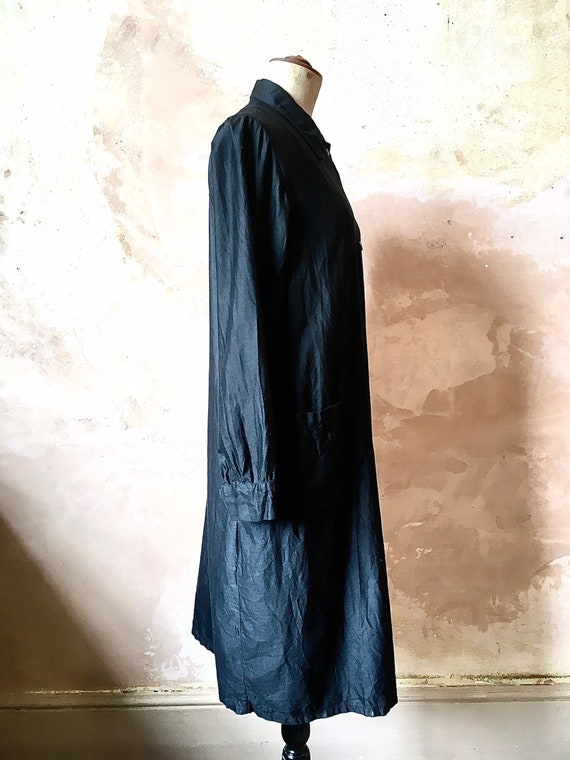 1930s French Waxed Cotton Workwear Black Jacket D… - image 2