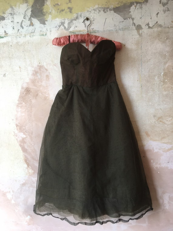 Vintage Moss Green 1950s Tulle Prom Dress Size UK