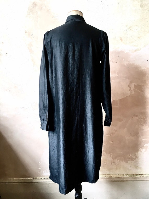 1930s French Waxed Cotton Workwear Black Jacket D… - image 3
