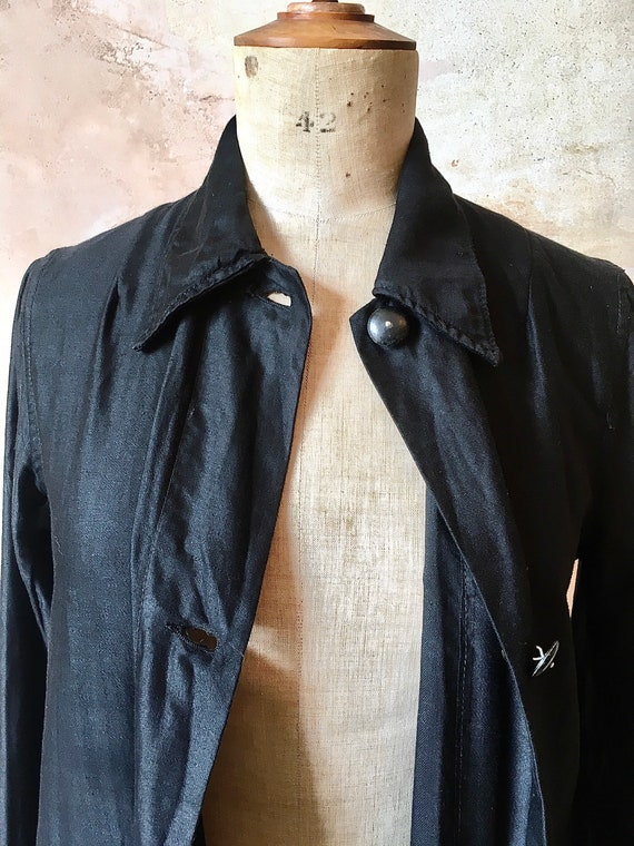1930s French Waxed Cotton Workwear Black Jacket D… - image 4