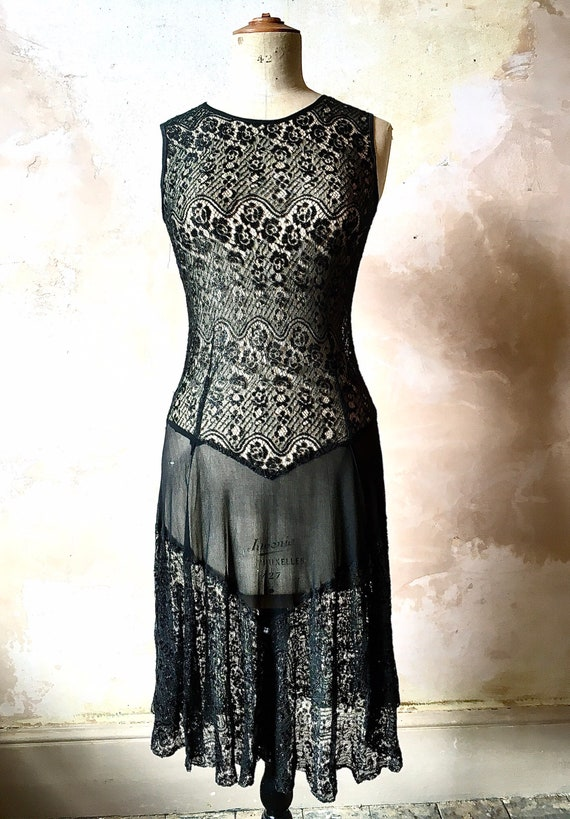 1930s Black Floral Lace Sheer Dress