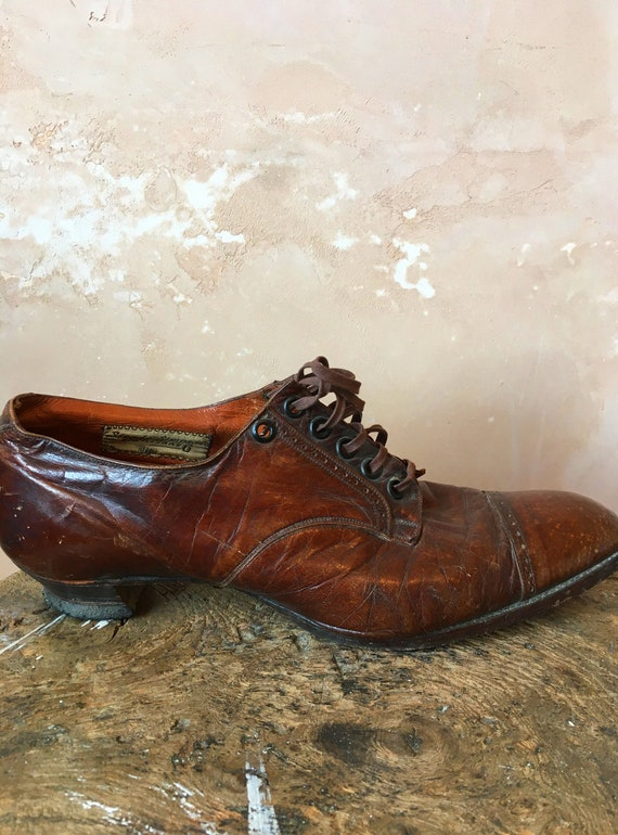 Edwardian Brown Leather Shoes Size UK 5
