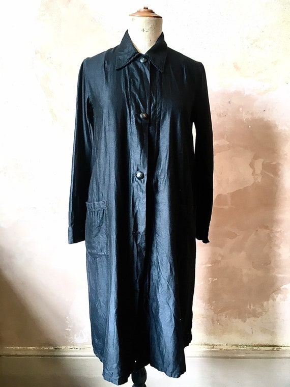 1930s French Waxed Cotton Workwear Black Jacket Dr