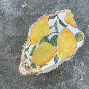 Jewelry holder Palm Animal Print Fun Design Lemon Dish Oyster Shell Art Ring Bowl Fruit D\u00e9cor Lime